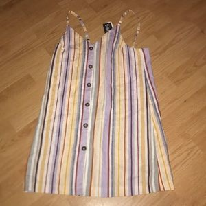 Striped linen button dress